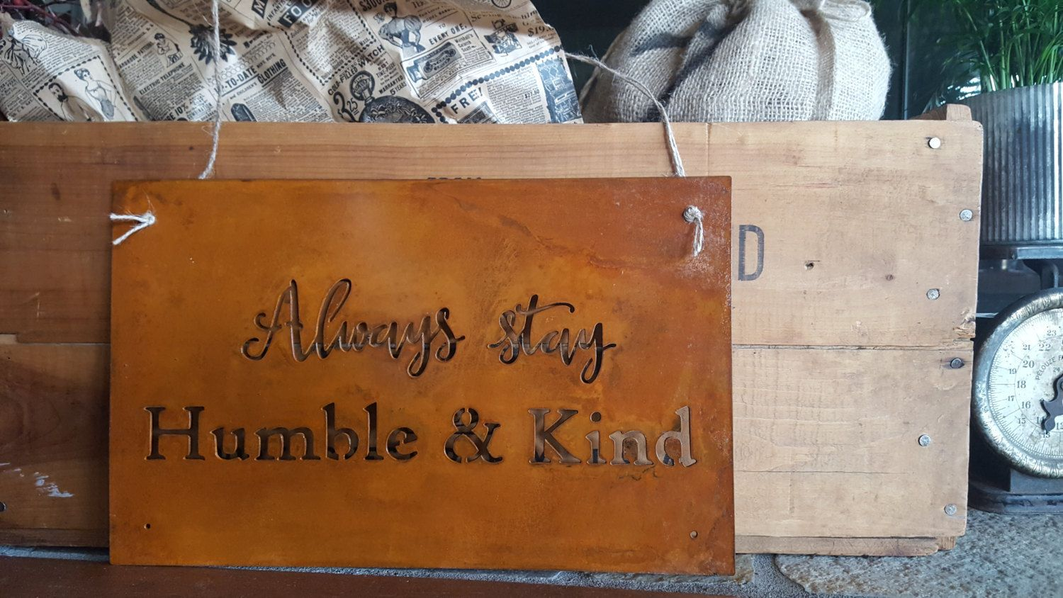 Wall Decor Signs For Home Prepossessing Metal Sign Always Stay Humble & Kind Rusted Metal Sign Rustic Design Decoration
