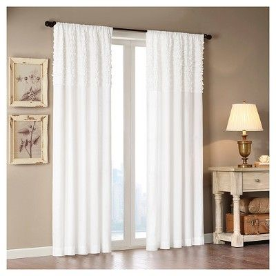 white curtain panels. Laurie Cotton Horizontal Ruffle Curtain Panel White (50x63) Panels