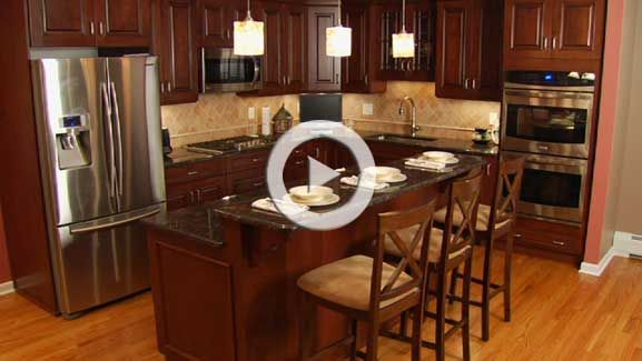 kitchen designs with 2 level islands photos VIDEO Tan Brown