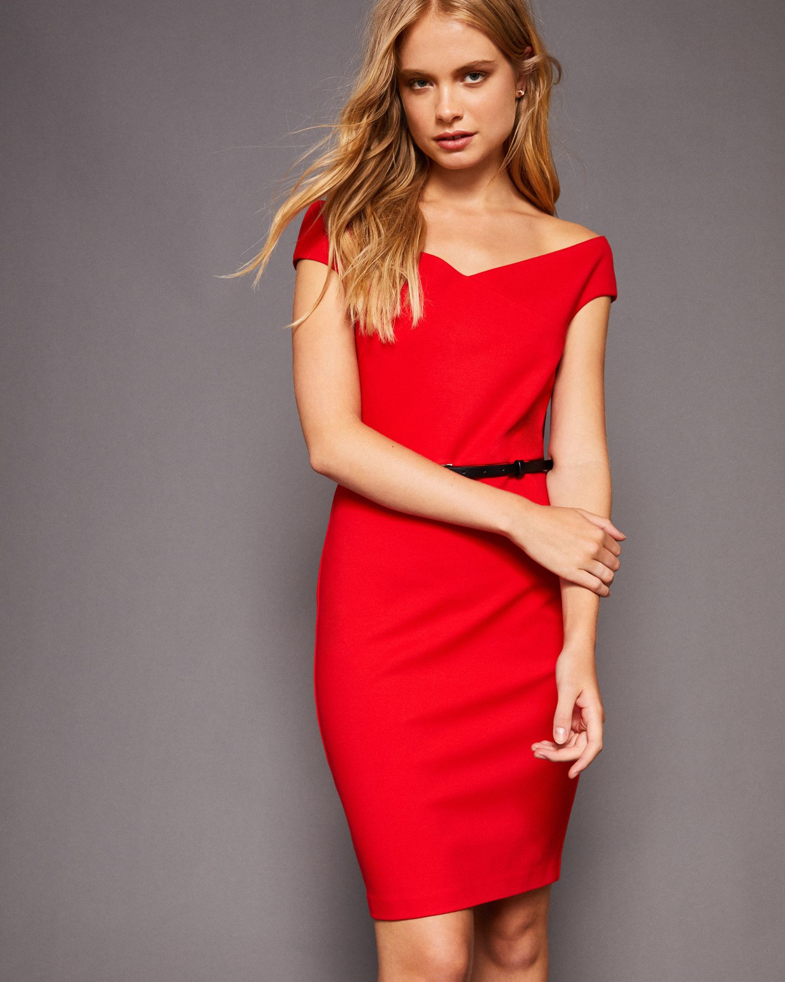 e435ef168 Ted Baker Off-shoulder bodycon dress Brick Red