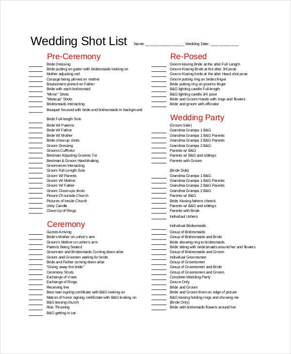 Wedding Shot List Template , Essential Elements to Be Involved in - wedding list