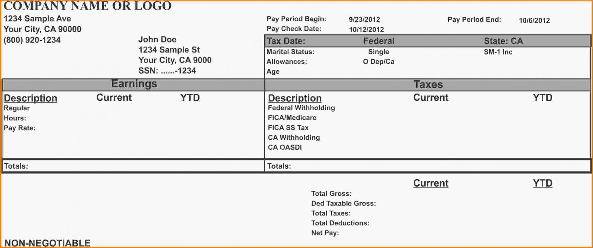 Quickbooks Pay Stub Template Payroll template, Statement