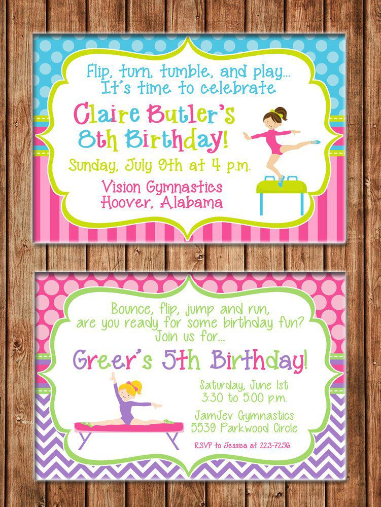 Girl Invitation Gymnastics Gym Tumbling Birthday Party