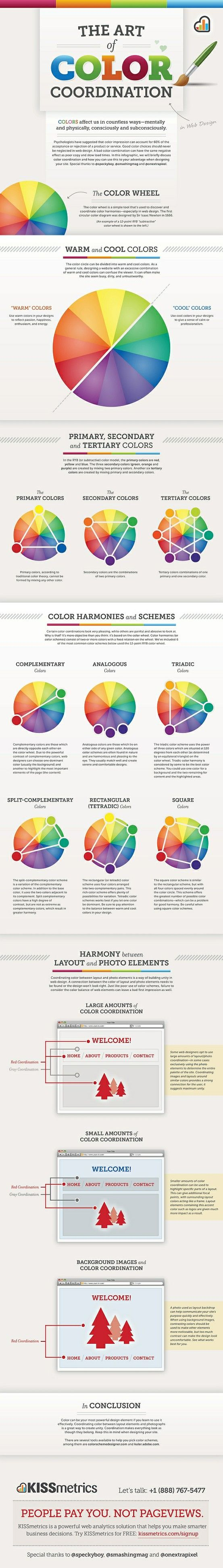 The Art Of Colour Coordination In Web Design Coordinating Colors Color Theory Infographic