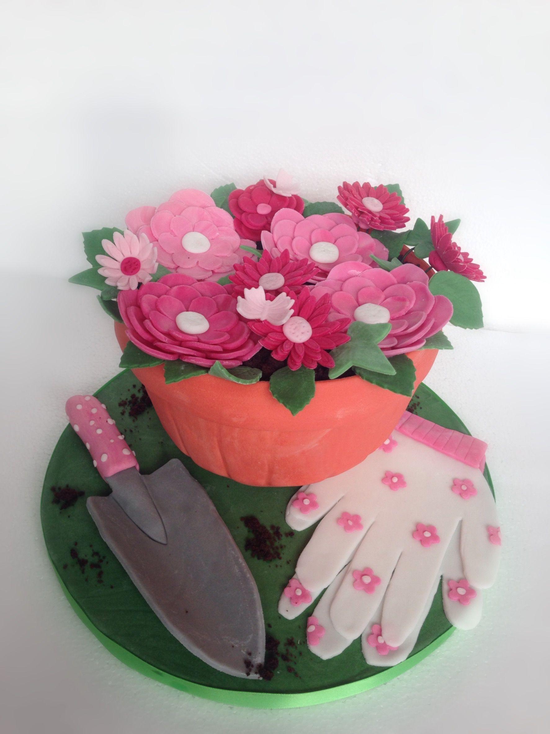 blumentopf torte 3d kuchen garten beet erde g rtner torte handschuh und. Black Bedroom Furniture Sets. Home Design Ideas