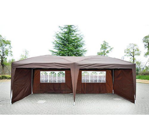 Amazon Com Outsunny 10 X 20 Easy Pop Up Canopy Party Tent Coffee Brown W 4 Removable Sidewalls Pa Outdoor Canopy Gazebo Pop Up Canopy Tent Gazebo Canopy