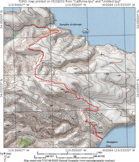 Santa Cruz Island Scorpion to Smugglers Cove Topo Map Favorite