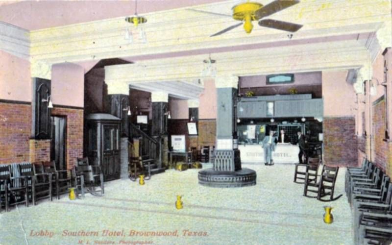 Southern Hotel Lobby 1912 Brownwood Texas