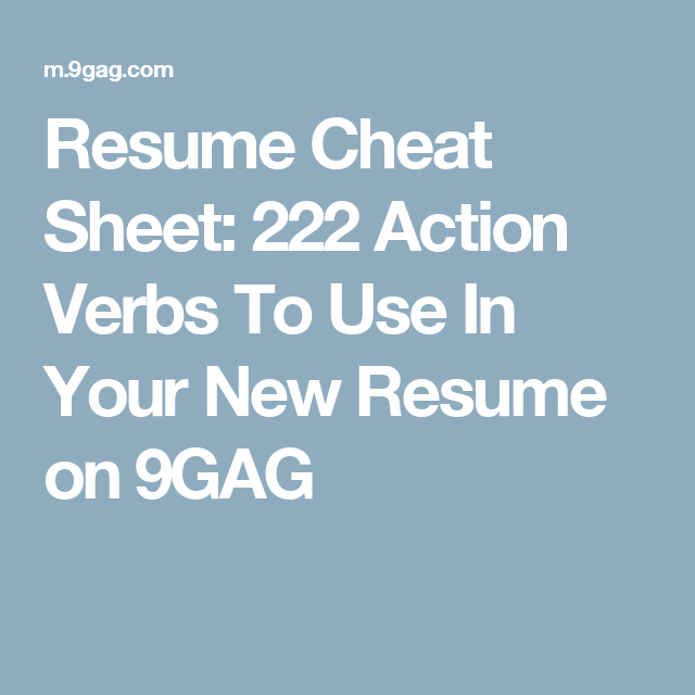 Action Words To Use In A Resume Pleasing Resume Cheat Sheet 222 Action Verbs To Use In Your New Resume On .