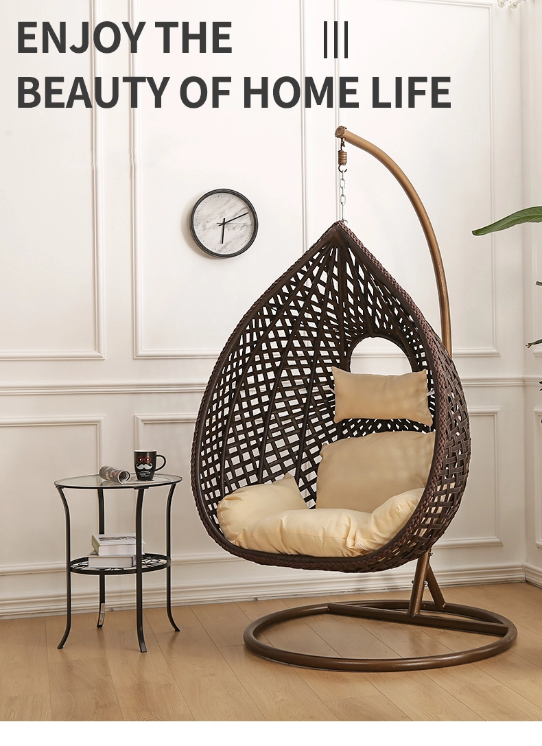 Indoor Furniture Hanging Nest Swing Basket Swing Hanging Chair With Cushion And Stand Seat For Hanging Egg Chair Hanging Chair Living Room Hanging Rattan Chair