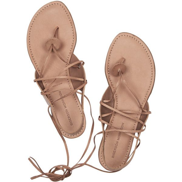 Sigerson Morrison Lace-up leather sandals ❤ liked on Polyvore