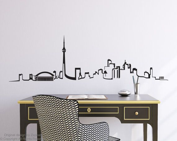 Add a creative touch to your home or office this listing is for a toronto skyline wall decal easy to apply and remove not reusable dimensions