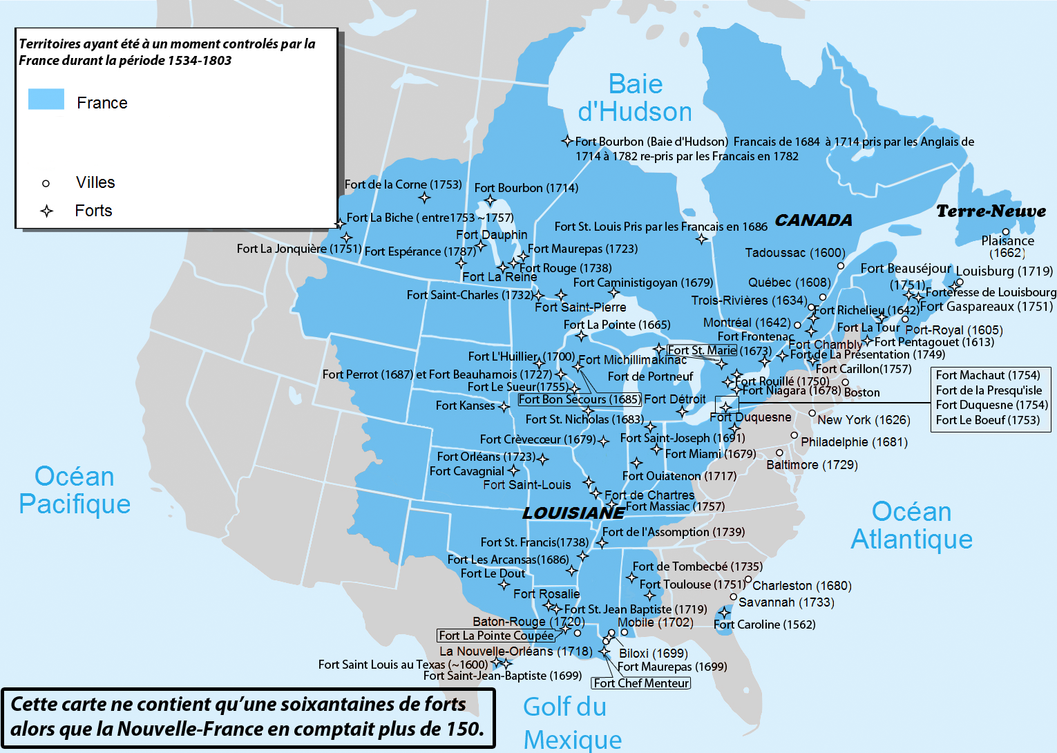 Areas In North America That Were Controlled By France By - Historical outline map
