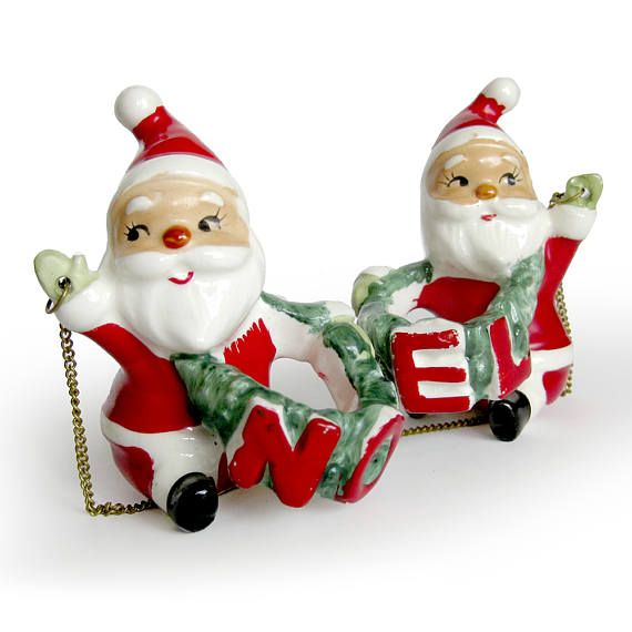 santa noel set of candle huggers 1950s christmas decorations napco porcelain figurines candle climbers