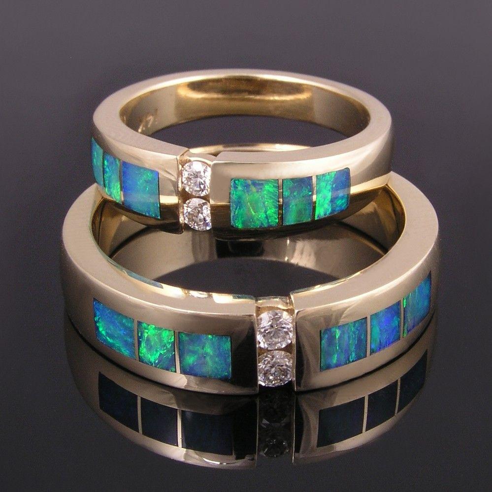 green diamond wedding band sets Australian opal and