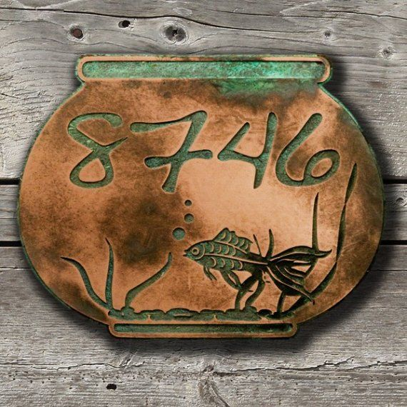 Gold Fish or Koi Fish Bowl Address Plaque 12x9.5 inches Home Numbers custom for you by Atlas Signs and Plaques
