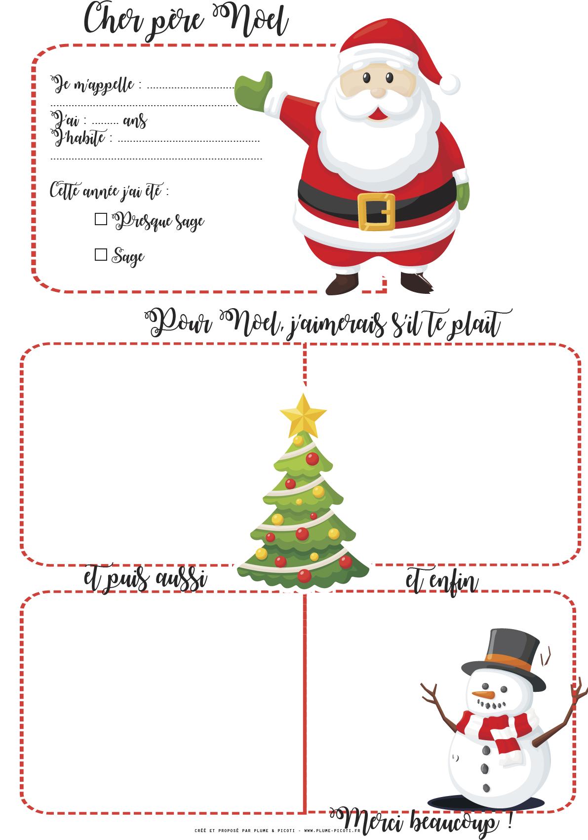 Liste Pere Noel Lettre au pre Nol imprimer | Christmas cards kids, Santa letter