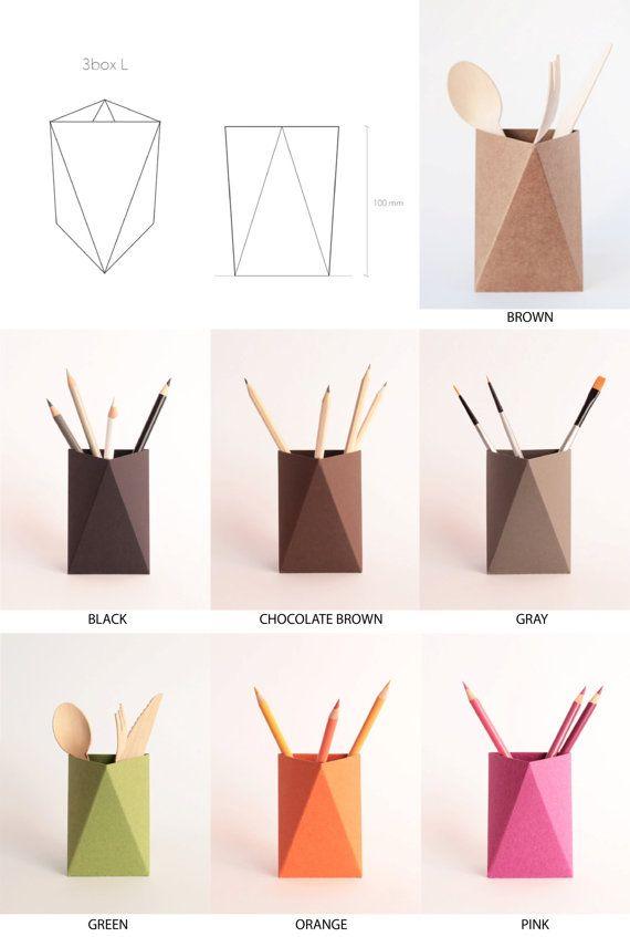 3box origami paper box desk pen holder pencil cup