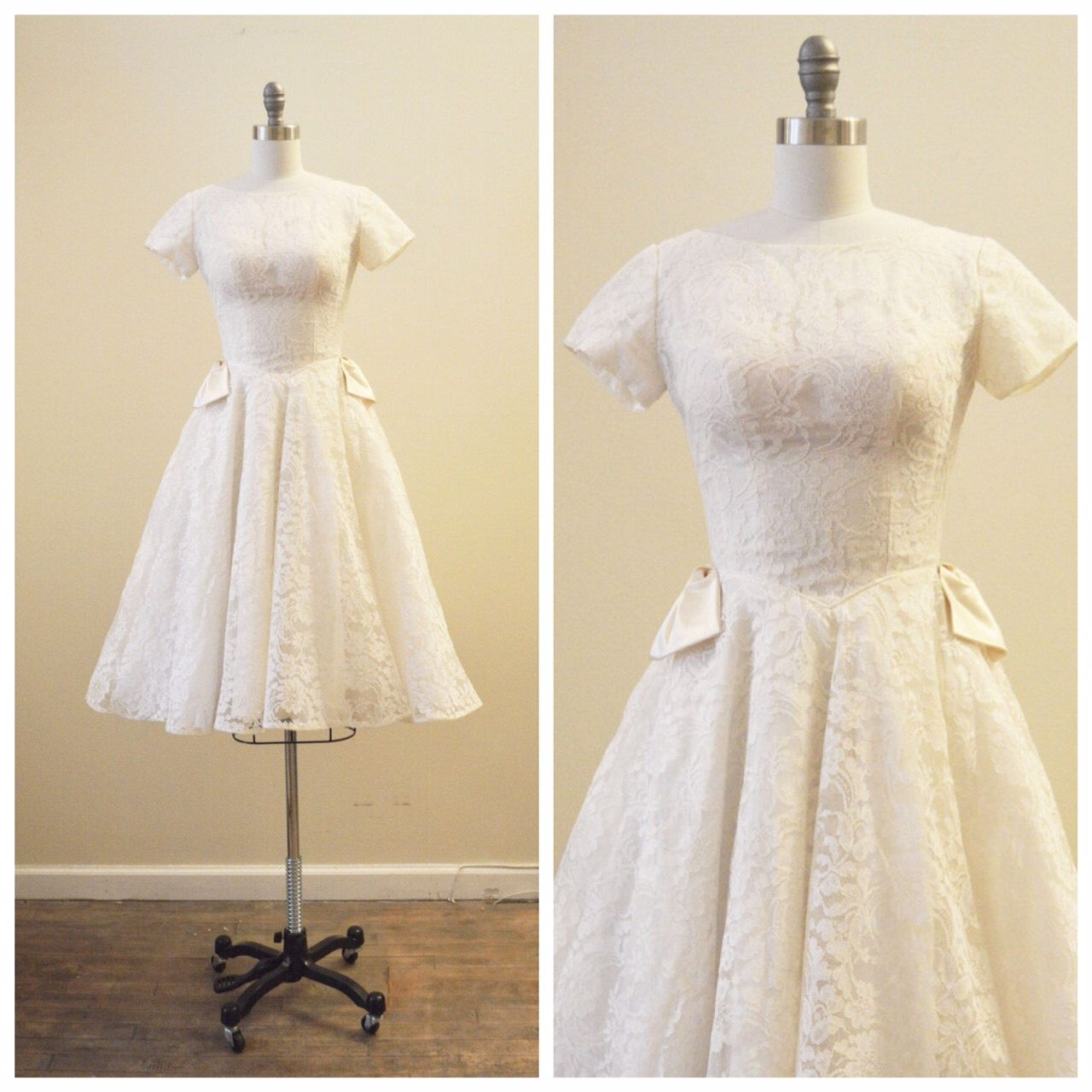 Vintage Bridal 1950's Ivory Chantilly Lace tea length wedding dress by MirandasBridal on Etsy https://www.etsy.com/listing/228411137/vintage-bridal-1950s-ivory-chantilly