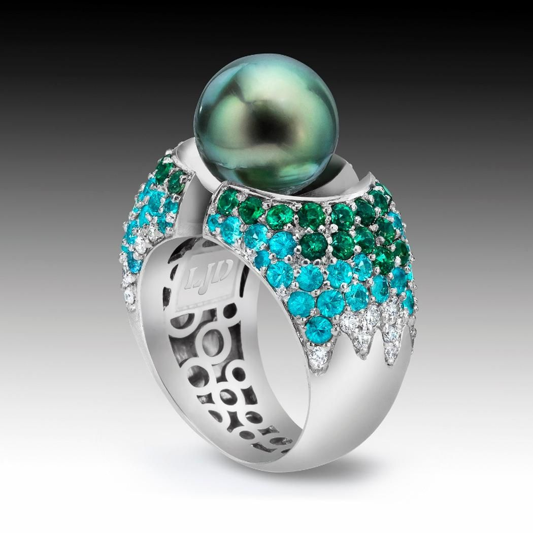 Divided Ring with Pearl and Pave' Setting 19K White Gold S-116 - LJD Jewelry Designs