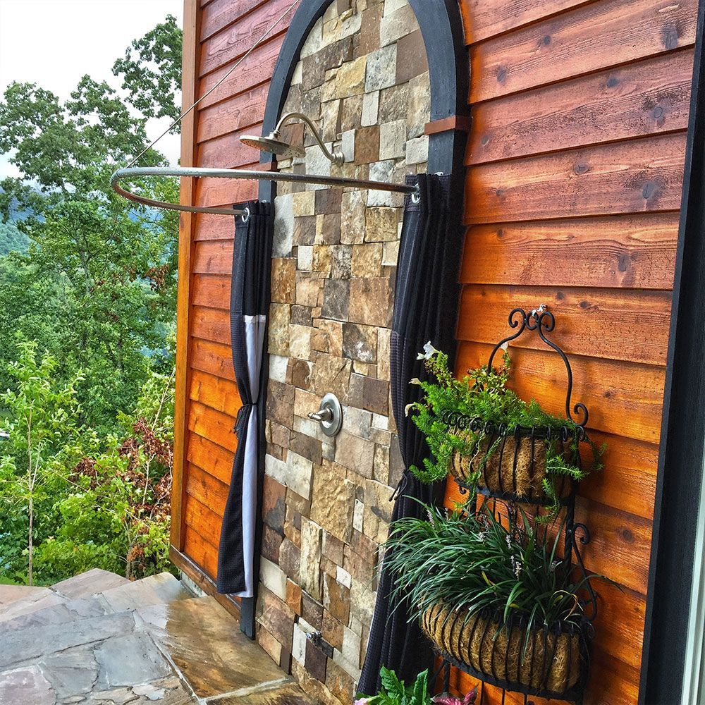 half oval exterior interior shower rod