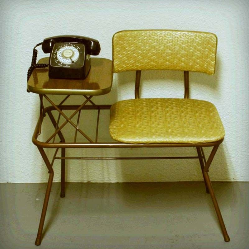 Vintage telephone table - gold and brown - gossip center - reserved for  hjsnow - Vintage Telephone Table - Gold And Brown - Gossip Center