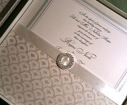 Elegant Wedding Invitations With Crystals Custom Silver Lace Invitation For A Traditional