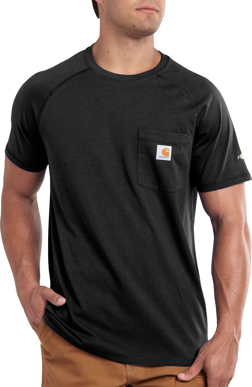 0c159492 Carhartt Men's Force Cotton Delmont Short Sleeve T-Shirt, Size: Large, Black