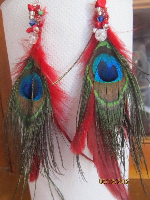 peacock feather earrings by beaderific on Etsy, $5.00