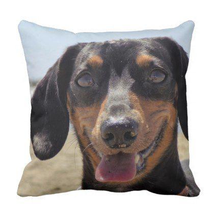 San Diego Beach Throw Pillow Dachshund Puppy Dachshunds Dog