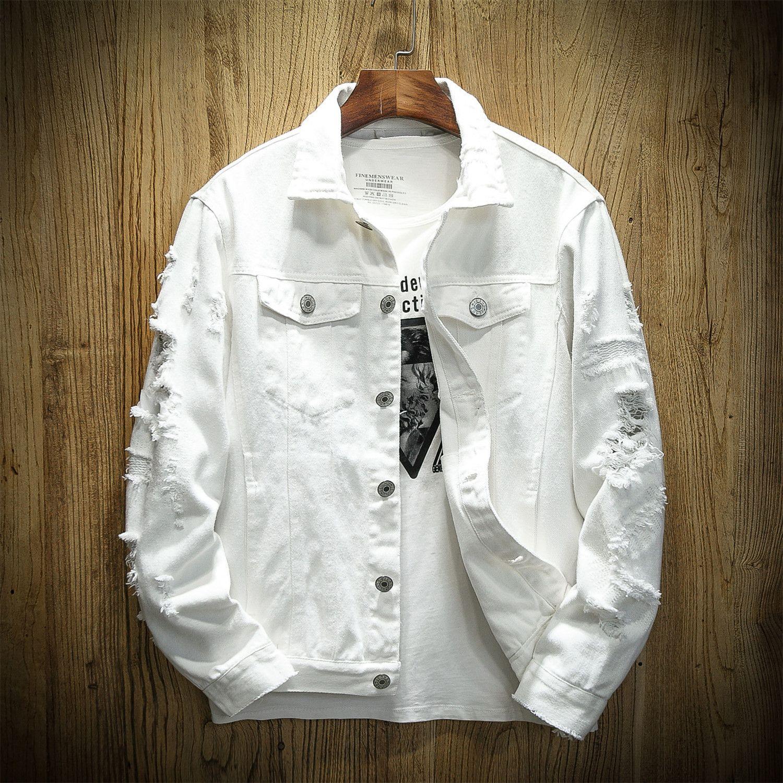 Aesthetic Fashion Discover Us 35 32 Spring Hole Denim Jacket Men Ripped Cowboy Jackets Coat Male Slim Denim Jacket Men Hooded Denim Jacket Pink Denim Jacket [ 1500 x 1500 Pixel ]