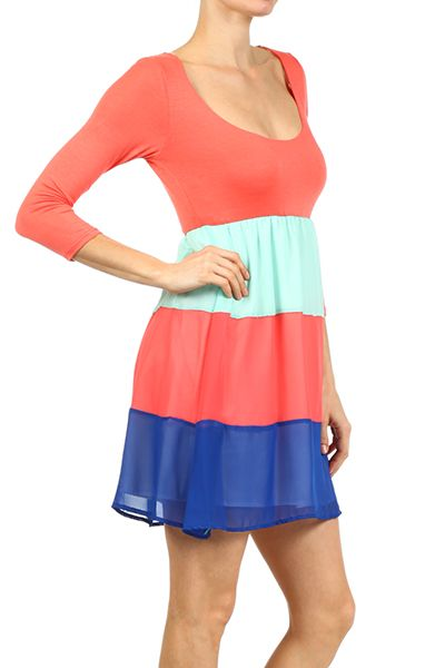 Colorblock, scoopneck dress with 3/4th sleeves and semi-sheer, lined skirt.