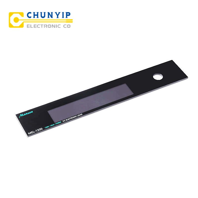 Acrylic front panel with translucent LCD window Metal: PET/PC/PVC