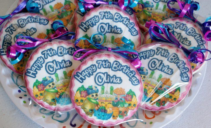 Pin for Later: Everything You Need to Buy For the Ultimate Shopkins Birthday Party  Personalized Shopkins cookies ($30).