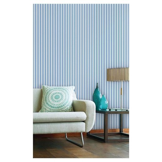 Devine Color Prints And Patterns Stripe Crest In A Blue And White Color Way Is A Peel And Stick Removable W Peel And Stick Wallpaper Color Stripes Flat Paint