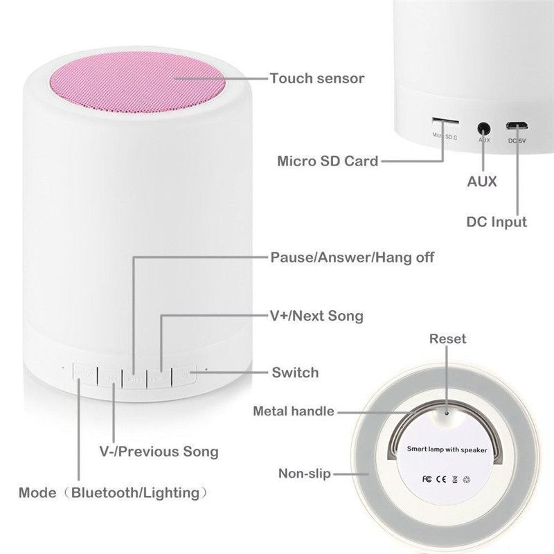 Led Touch Lamp Night Light Portable Bluetooth Speaker Wireless Speaker Touch Lamp Bluetooth Speakers Portable Wireless Speakers