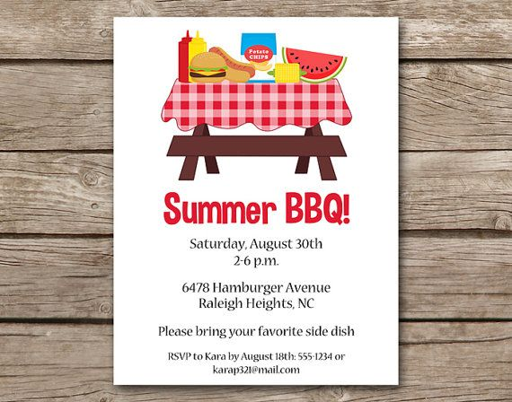 BBQ Invitation Bbq Invite Barbecue Invitation Barbeque Invitation