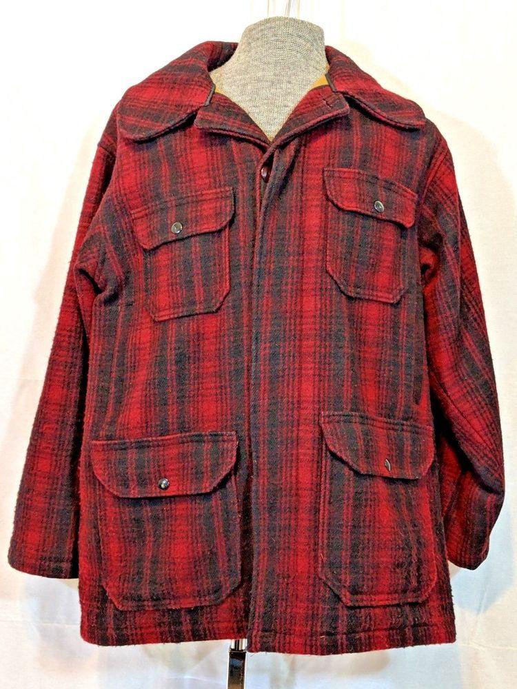 5bc30c6c87774 Vintage Woolrich Red Black Plaid Wool Mackinaw Hunting Jacket Coat Sz 40  Mens #Woolrich #BasicCoat