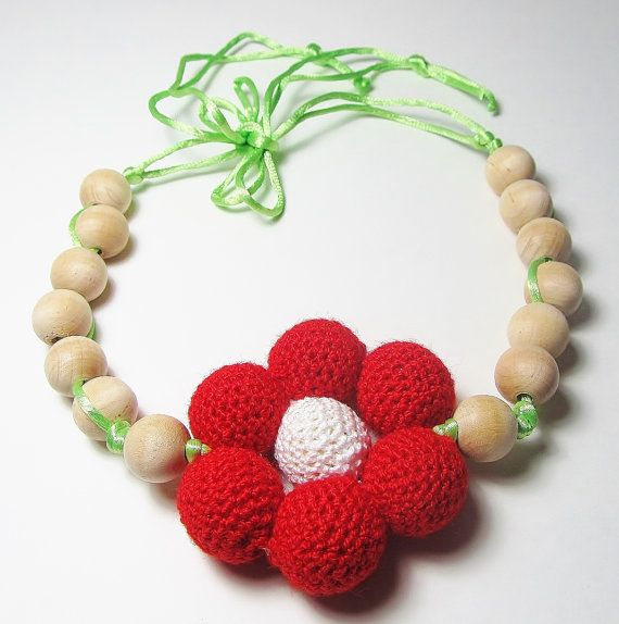 Baby Teether Necklace Crochet  Natural Unfinished by Starfall, $25.00