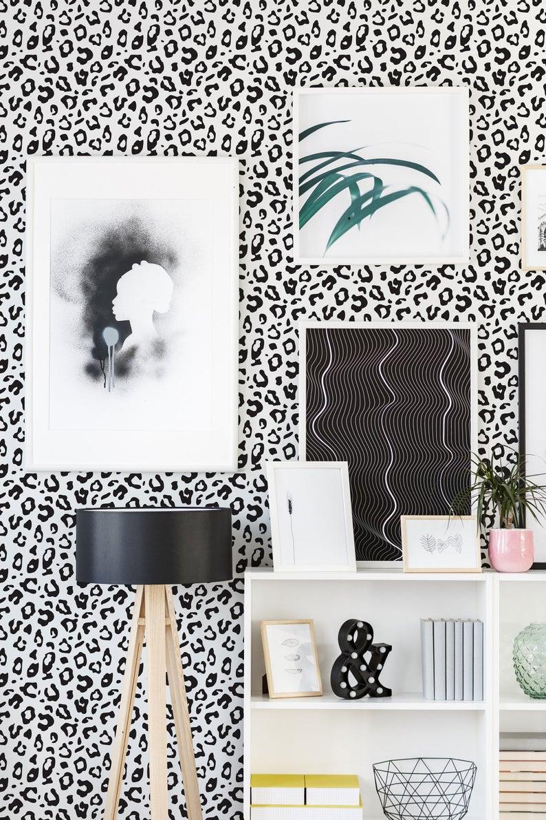 Leopard Spot Pattern Removable Wallpaper Abstract Etsy Leopard Print Wallpaper Removable Wallpaper Peel And Stick Wallpaper
