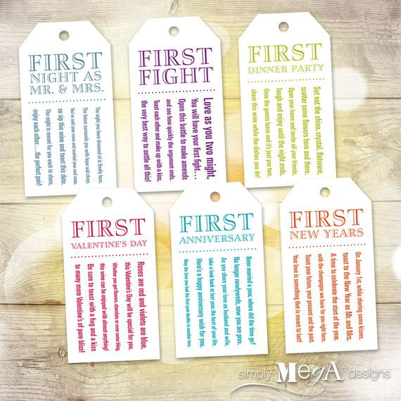 225 & Marriage Milestone Wine Basket Tags u2014 Bridal Shower Gift / Wedding ...