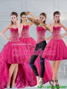 480ac99ea0 2015 Strapless Detachable Multi Color Quinceanera Dress with Appliques and  Beading. Hot Pink Sweetheart Quinceanera Dress with Appliques and Beading