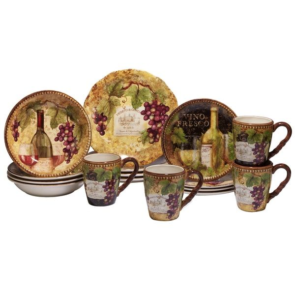 Certified International Gilded Wine 16 -Piece Dinnerware Set