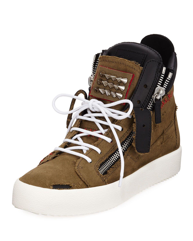 6877acde0c65d GIUSEPPE ZANOTTI MEN'S CHAOS STUDDED HIGH-TOP SNEAKERS. #giuseppezanotti # shoes