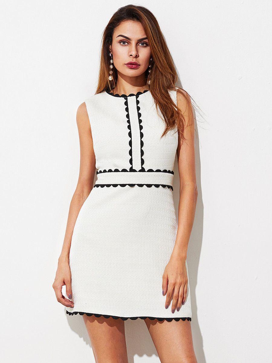Shop Contract Scallop Lace Trim Textured Dress Online Shein