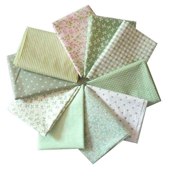 5536ee6f8b800b Souarts 10 Stück Stoffpakete DIY Kleine Blume Muster Baumwolltuch Patchwork  Stoffe Paket Stoffset 50x50cm Hellgrün