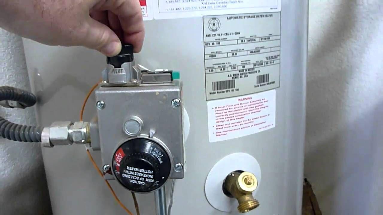Water heater shutdown, relight, and maintenance Water