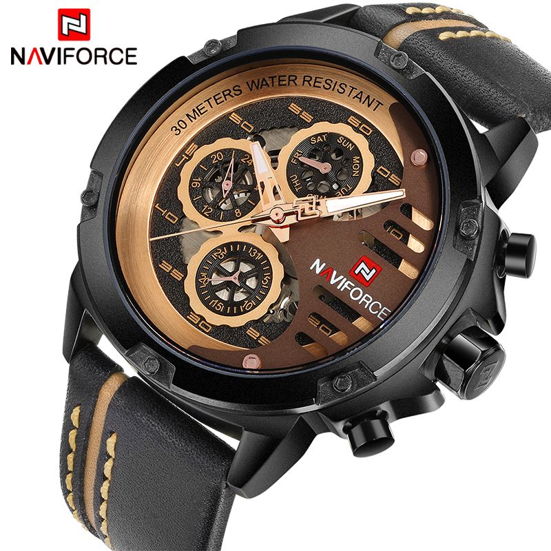 8609f4fea NAVIFORCE Luxury Brand Men's Quartz Sports Watches Man Leather Hollow Face  24 Hour Date Clock Men Fashion Waterproof Wrist Watch