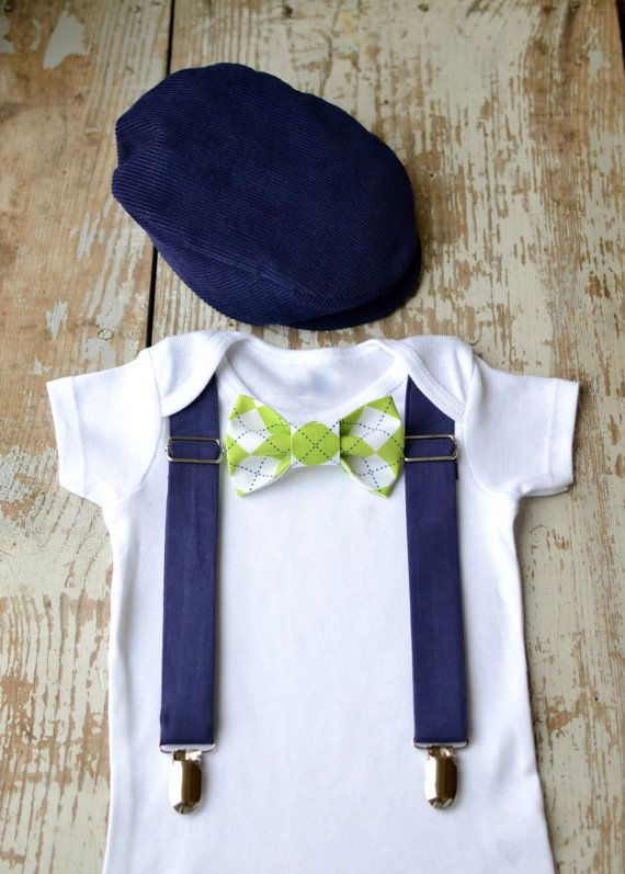 a476a37e96299 Baby Boy Clothes Bow Tie Flat Cap Boys Wedding Outfit Navy Cap Lime Green  Argyle Bowtie Coming Home Cake Smash Ring Bearer Golf 1st Birthday