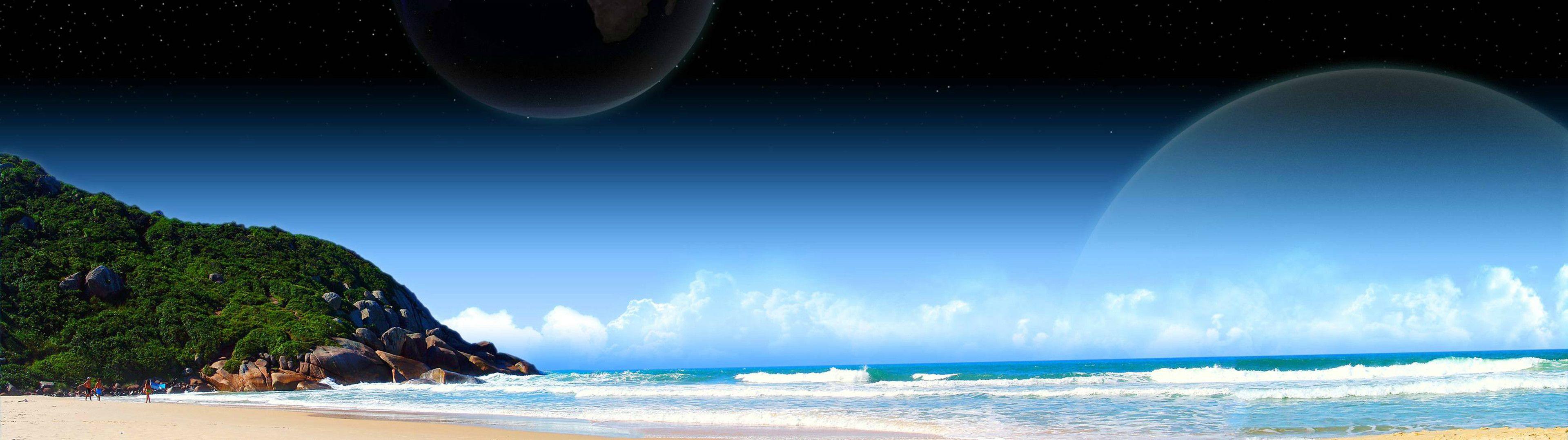 moon beach Dual monitor wallpaper, Beach pictures, Dual